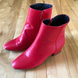 3/20$ Red vegan leather booties